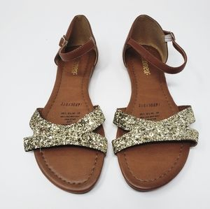 《Andrea Fenzi》Open Toe Sandals Gold Sparkle Sz 9.5